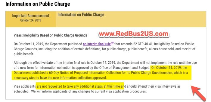 Public Charge Rule - Visa Stamping New forms