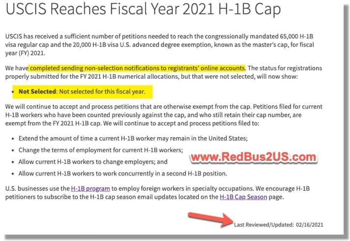 H1B FY 2021 Cap Reached - Feb 2021