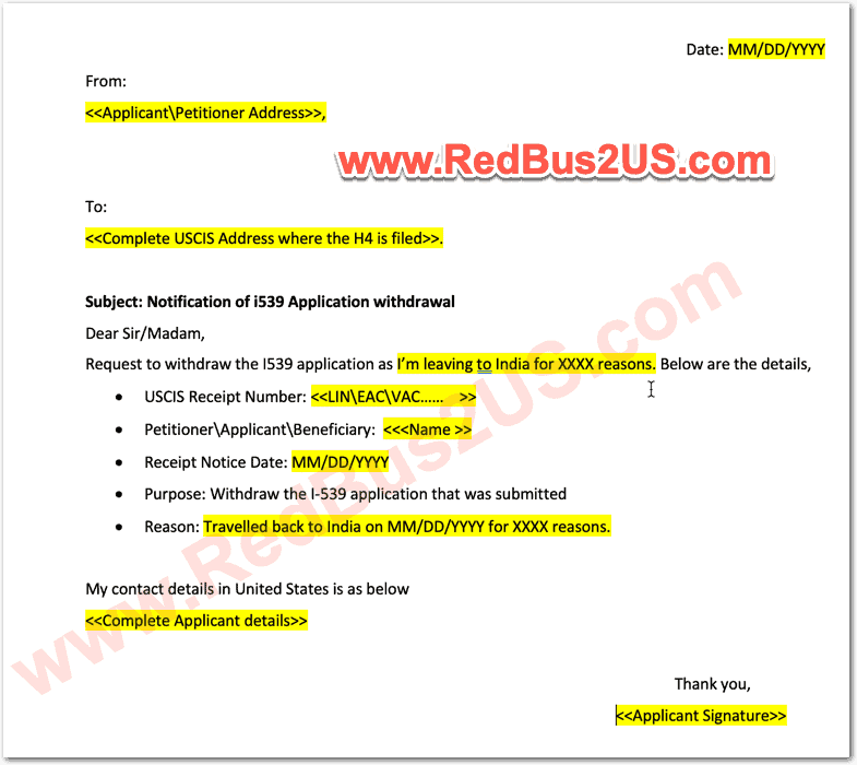 H4 EAD Withdrawal Letter Sample to USCIS