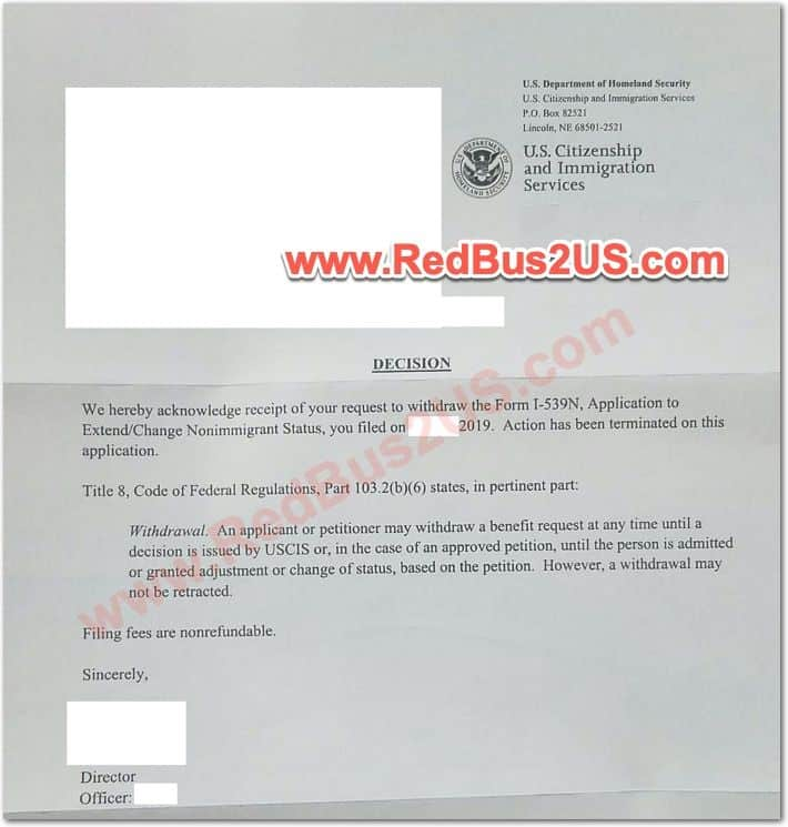 H4 Withdrawal Acknowledgement Letter from USCIS