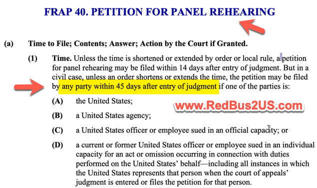 US Supreme Court Rule of 45 Days for Rehearing