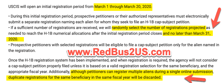 USCIS H1B Lottery Results Date - Duplicate petitions Info