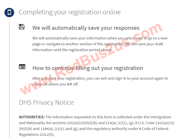 Completing H1B Registration online - Save responses info