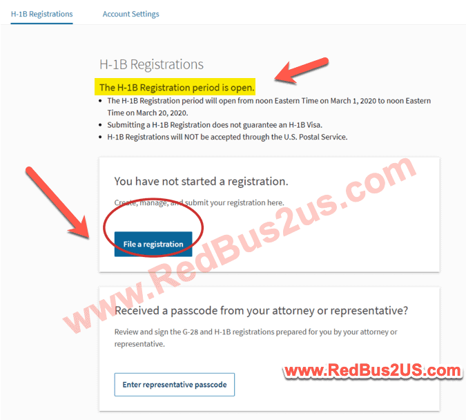 H1B Registrant Landing page with Option to File a Registration