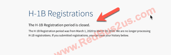 H1B Registration Closed Banner
