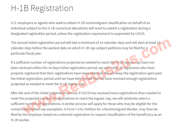 H1B Registration Intro Screen