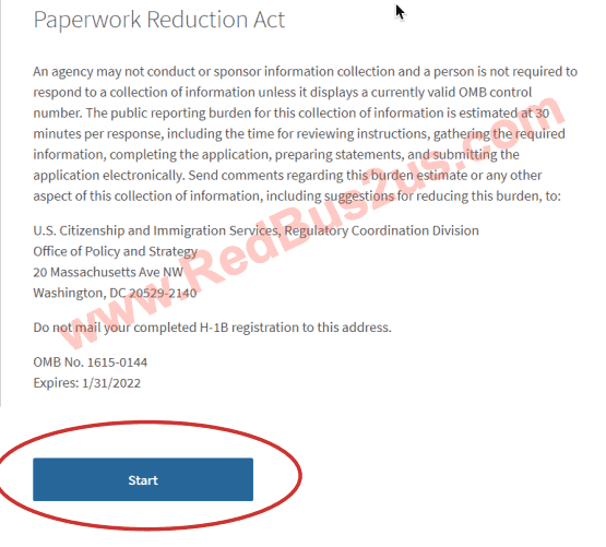 Paperwork Reduction Act - Start