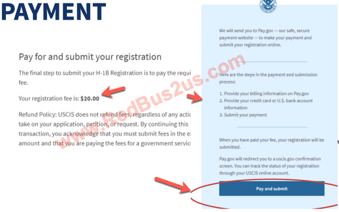 Pay and Submit H1B Registration Screen