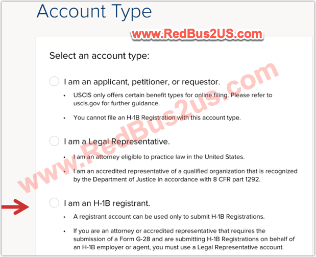 Select H1B Registrant Account Type - USCIS Account Signup