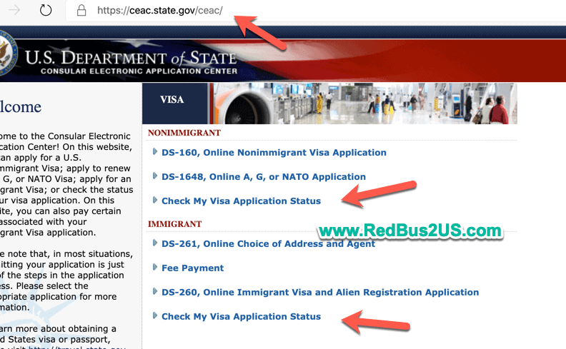 Check visa status -CEAC Website State Gov Website