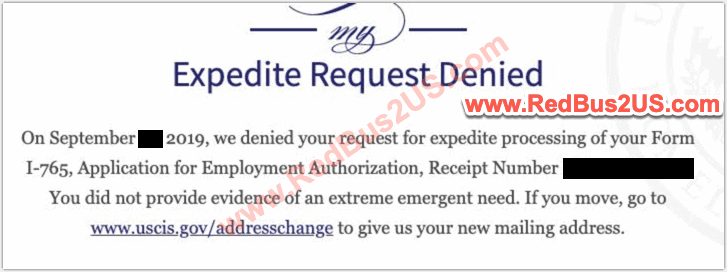 Expedite Request Denied by USCIS Sample
