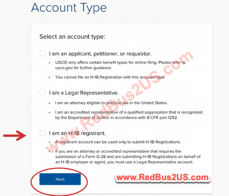 H1B Registrant Account Type USCIS Sign up Process