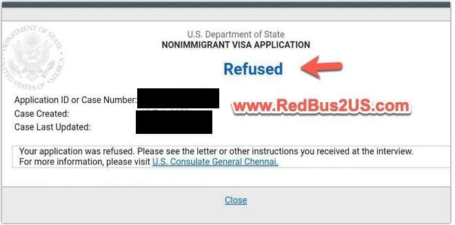 US Visa Status Refused Sample