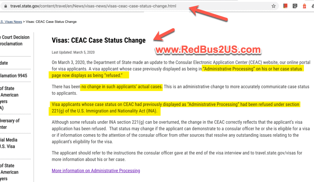 Adminstrative Processing Changed to Refused - CEAC - March 2020 News Relase
