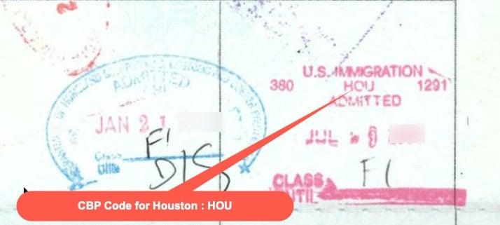 CBP Code for Houston - HOU Stamp
