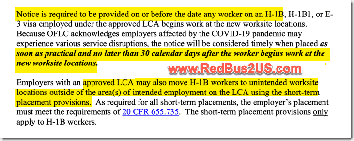 DOL Notice for COVID-19 for Posting LCA Notice