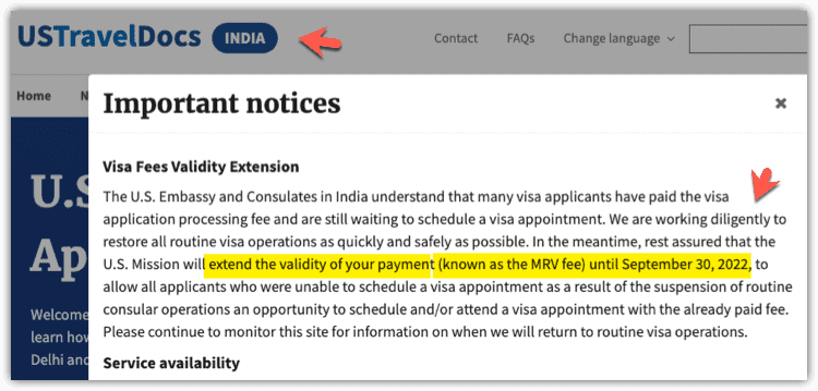Extend MRV Fee - US Consualtes India until Sep 30-2022