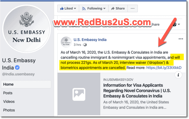 Facebook page update - US Embassy India - Cancelled Dropbox Appointments 221g