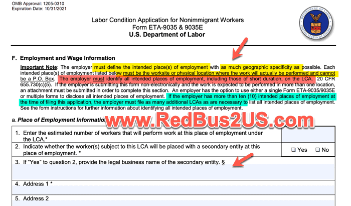 H1B LCA - Employer Info - Locations List that Employer can work