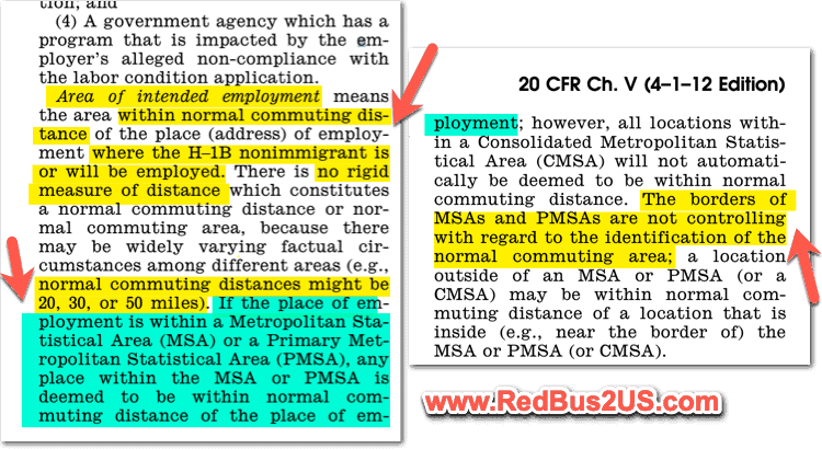 H1B LCA - Metropolitan Statistic Area MSA rule - Commuting Distance Rule