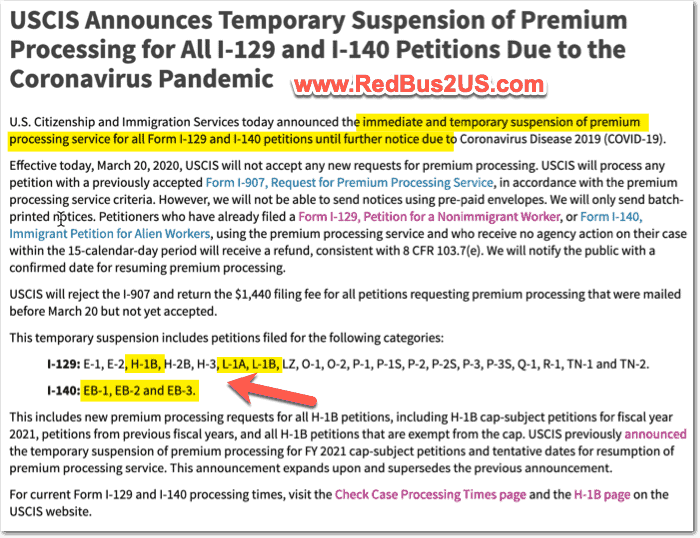 H1B Premium Processing and I-140 Suspended until Further Notice COVDI-19