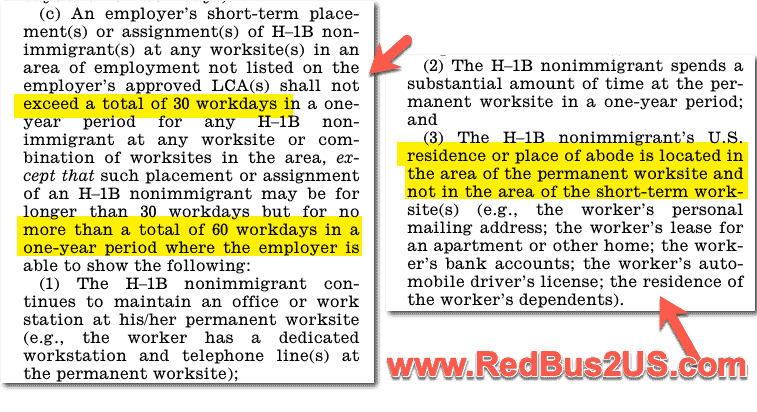 H1B Workers Short Term Placement Rule - Place of Residence