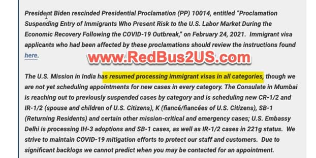Immigrant Visa Processing Resumed - India Consulates