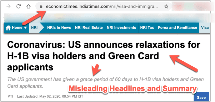 Misleading Headlines by Indian Media H1B Grace Period