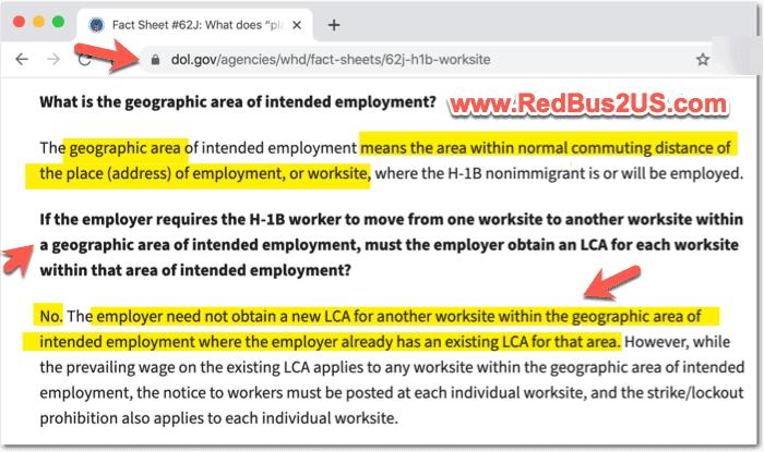 No need of new LCA - if Employee is in Commuting Distance