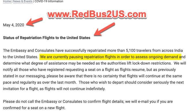 Repatriation Flights Paused