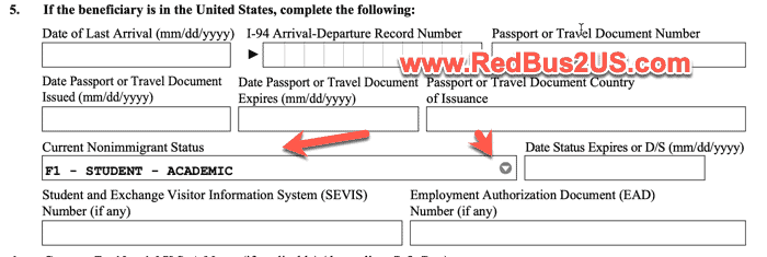 Select F-1 Status in Item 5 of Part 3 in I-129 Form