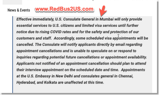 US Consulate Mumbai Update COVID - April 2021