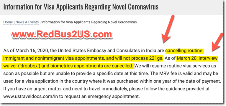 US Embassy India COVID-19 Updates - Dropbox - Visa Appointments - 221g - Cancelled