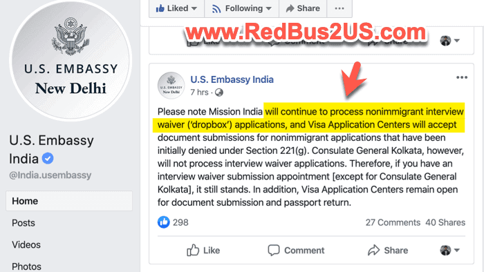 US Embassy India - Visa Dropbox Accepted and 221g Documents Accepted