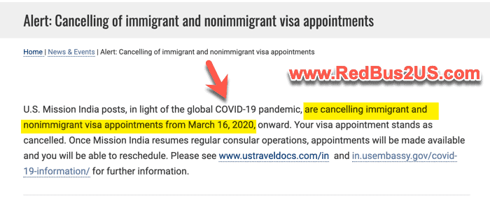 US Visa Appointments Cancelled from March 16 India