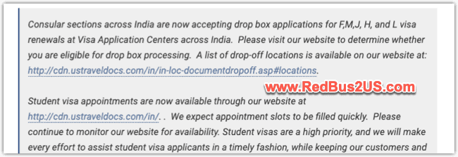 US Visa Dropbox Appointments open in India