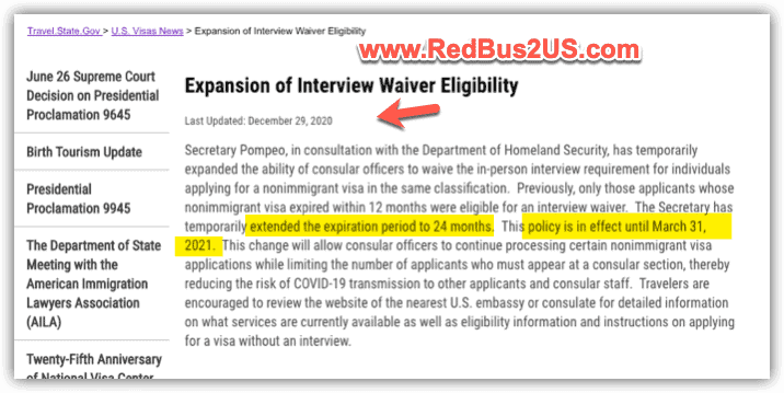 US Visa Interview Waiver Eligiblity Extended until Mar 31-2021