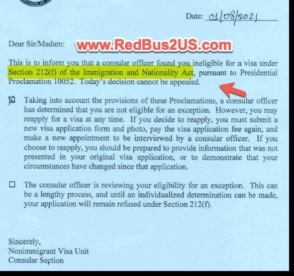 US Visa Rejected under 212f of INA - Blue Slip