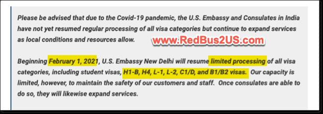 US Visa Stamping Delhi Update - Jan 2021