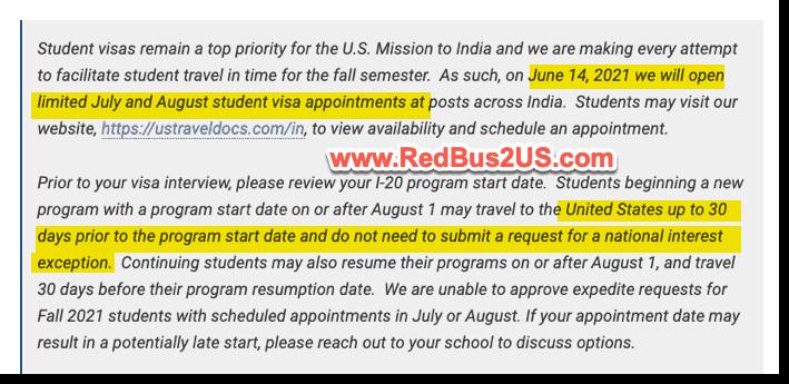 US Visa Stamping India - June F1 Students Priority update consulate website
