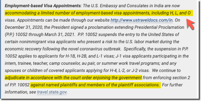 US Visa Stamping India - Limited H1B and L1 visa slots opened