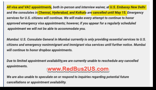 US Visa Stamping India Update - April 27 2021