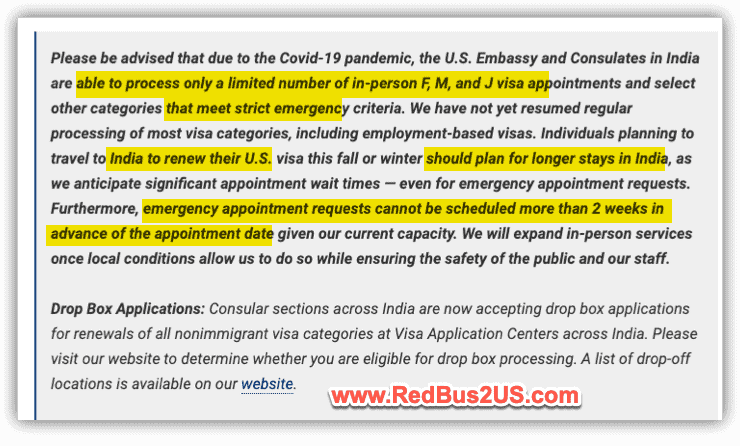 US Visa Stamping Update in October from US Embassy Website