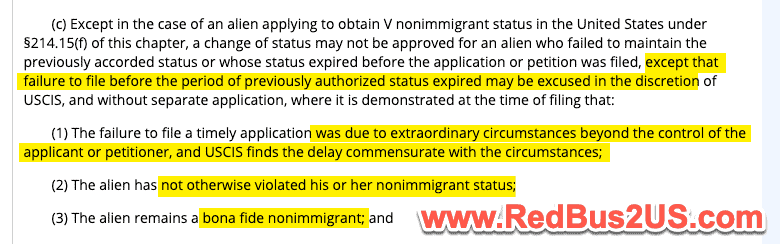 USCIS COS and EOS filing delay under Extraordinary Circumstances