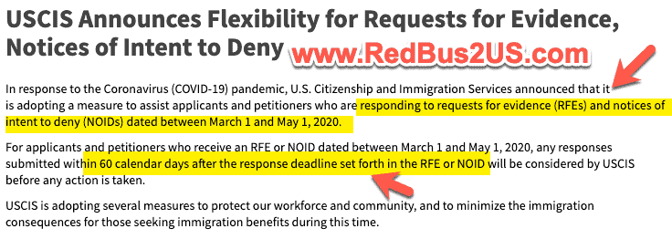 USCIS Flexibility for RFE responses - 60 more days with COVID-19