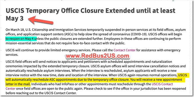 USCIS Offices Closed Until May 3rd for COVID-19