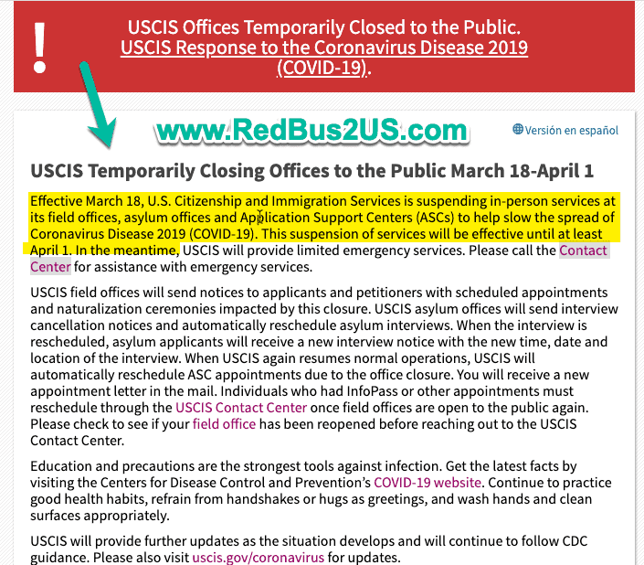 USCIS Offices Closed for In-person Activities until April 1st Alert