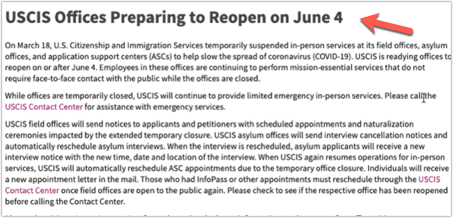 USCIS Offices to reopen on June 4th for ASC Appointments