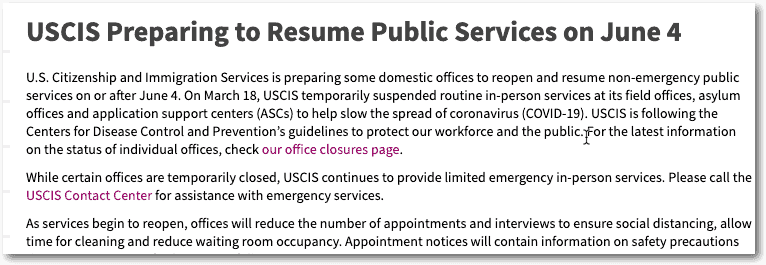 USCIS offices to open on June 4