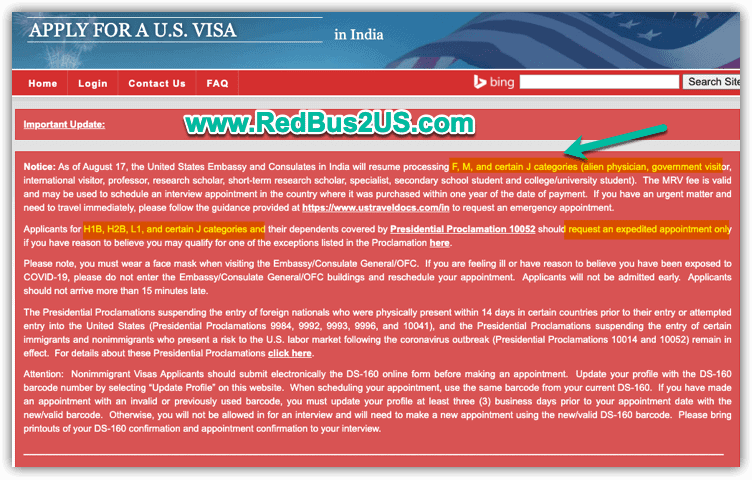 USTravelDocs - Update on US Visa Appointments - August 17 for F J and M Visas